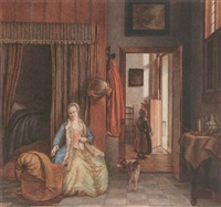 interior with a woman playing with a child in a cradle by sara ploos van amstel