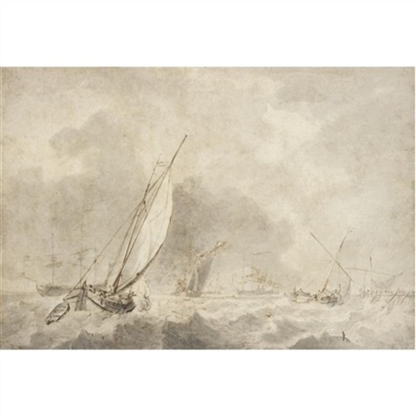 small vessels under sail in choppy waters with warships at anchor in the distance by ludolf backhuysen the elder
