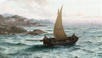 fishers returning, morning at stone head, connemara by thomas rose miles