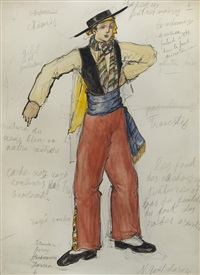 costume for a male dancer, bolero by natalia sergeevna goncharova