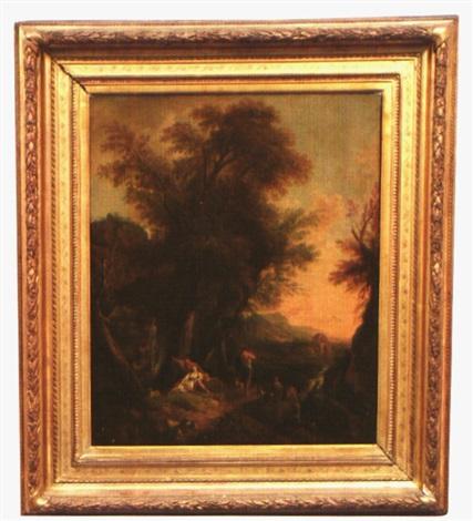 angélique et médor dans un paysage by jean baptiste charles claudot