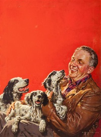 man with setters by harold n. anderson