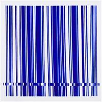 ohne titel - blaue streifen auf weiss by wieslawa stachel