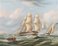 frigate in full sail and other vessels on a choppy sea by richard b. spencer