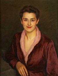 jeune femme en bordeau by léonid frechkop