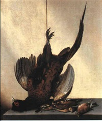 nature morte, fasan og smafugle by jacobus van der hagen