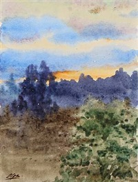 forest scape at sunset by olga (grand duchess) alexandrovna