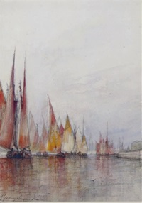 venetian fishing fleet heading out to sea by william gedney bunce