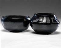 blackware jars (set of 2) by juanita wo-peen