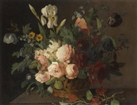 roses, narcissi, irises, tulips and other flowers in a basket on a stone ledge by arnoldus bloemers