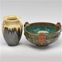 vase with drip glaze and footed bowl by fulper pottery