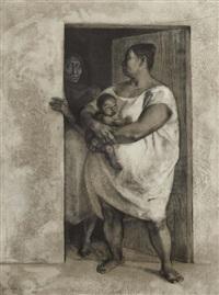mujeres con niño en la puerta by francisco zúñiga