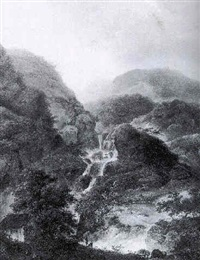 a mountainous landscape with figures by a waterfall by charles santoire de varenne