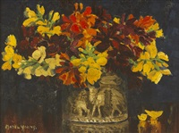 floral still life in red and yellow by mabel young