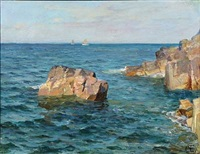 scene from the rocky coast of bornholm with sailing ships in the horizon by paul gustave fischer