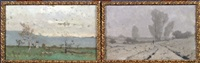 paysage (2 works) by alphonse asselbergs