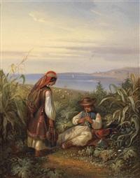 hirtenpaar in dalmatischer landschaft by eugen adam