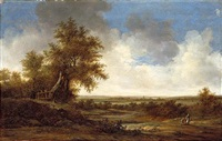 an extensive dune landscape with a mother, her child and their dog on a country road by jacob van mosscher