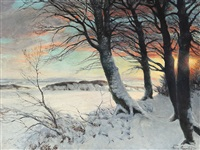 a winter landscape by hans mortensen agersnap