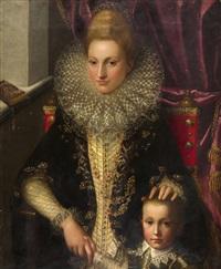 bildnis einer vornehmen florentinerin mit ihrem sohn (bianca cappello?) by alessandro di cristofano allori