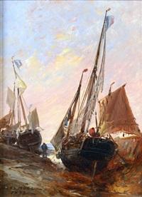 bateaux de pêche au tréport by jules achille noel
