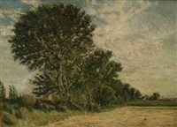 paysage aux grands arbres by august l. roure