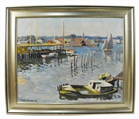 boats in harbor by robert b. atwood