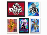 five serigraphs in colors, france (5 works) by victor vasarely