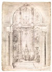 scena biblica in un'architettura barocca by scuola di faenza