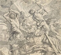 the cyclops forging the arms of brescia (after titian) by cornelis cort