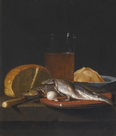 still life with mackerel, bread, a pewter plate and a glass of beer on a table by simon luttichuys