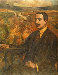 portrait of gentleman seated on a balcony, a spanish landscape beyond by mary cameron