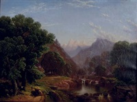 summer mountainscape with figures by george w. waters