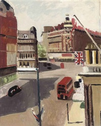 knightsbridge from the royal thames yacht club by adrian maurice daintrey