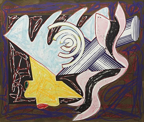 a hungry cat ate up the goat, plate 2 from illustrations after el lissitzky's had gadya by frank stella