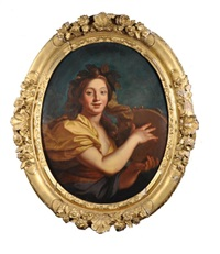 jeune femme en bacchante jouant du tambourin by pierre-jacques cazes