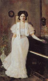 portrait einer dame am klavier by hugo böttinger