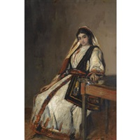 girl in traditional greek dress by nicolaos xydias typaldos