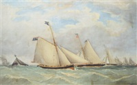 racing cutters of the royal dee yacht club, rounding the buoy by henry melling