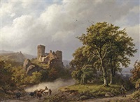 figures and cattle on a path in a wooded landscape with a castle ruin beyond by barend cornelis koekkoek