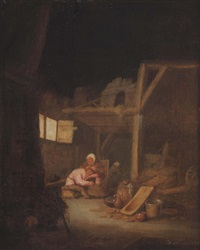 a barn interior with a peasant woman delousing a man by bartholomeus molenaer