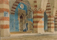 the interior of the aqsunqur or blue mosque, cairo by axel herman haig