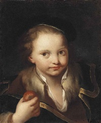 portrait of a boy, bust-length, in a brown shirt, blue overcoat and hat, holding an apple by domenico maggiotto