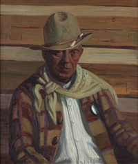 portrait of a cowboy, possibly charles marion russell by kathryn woodman leighton