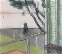 untitled, figure outside a house by jack carrington smith
