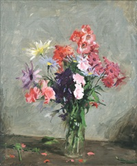 a purple and pink posy by archibald douglas colquhoun