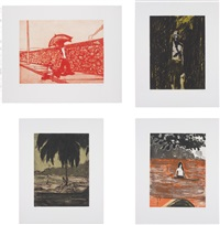 lapeyrouse wall; untitled; curious; and paragon (4 works) by peter doig