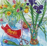 irises and red vase by janet fish