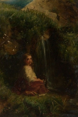 young girl seated beside a waterfall by robert herdman