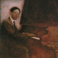 man seated at piano by mark english